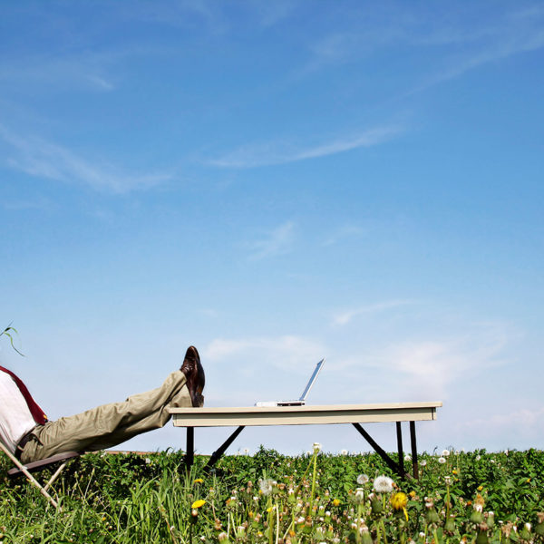 endlich sorglos online - eso: Entspannter Geschäftsmann in einem Liegestuhl auf einer Blumenwiese liegend
