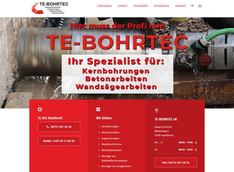 TE-BORTEC - Ihr Spezialist für Kernbohrungen, Betonarbeiten, Wandsägearbeiten