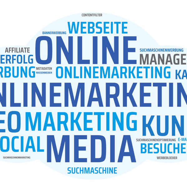 Wortwolke Online Marketing, SEO, Social Media, Kanäle, Werbung, Suchmaschine