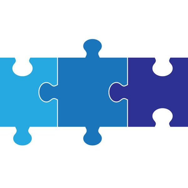Dreiteilige Puzzle-Grafik